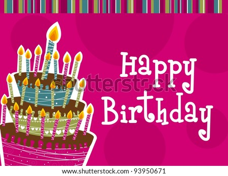 happy birthday with cake card. vector illustration - stock vector
