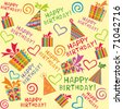 Happy birthday wrapping paper seamless pattern in vector - stock photo
