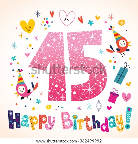 Happy Birthday 15 years kids greeting card - stock vector