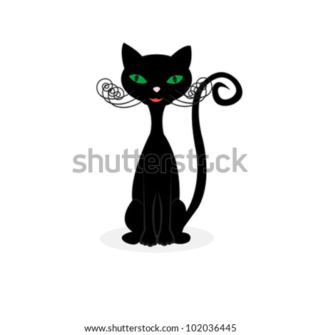 happy black cat over white background