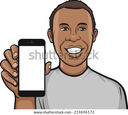 happy black man showing a mobile app on a smart phone - stock vector