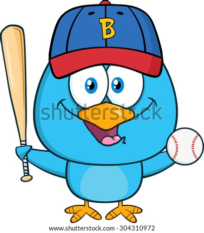 Happy Blue Bird Cartoon Character Swinging A Baseball Bat And Ball. Vector Illustration Isolated On White - stock vector