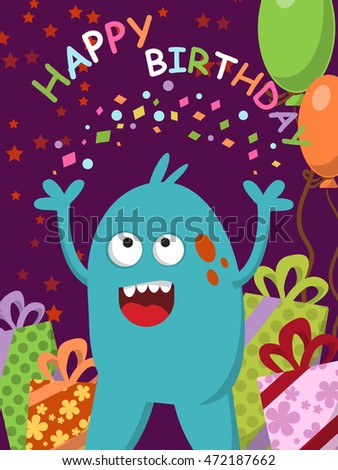 Happy blue monster with gifts and balloons celebrating his birthday. Vector illustration