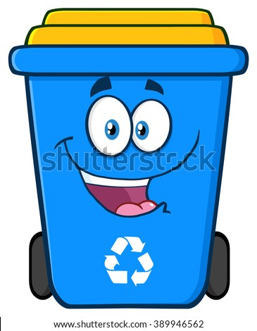 Happy Blue Recycle Bin Cartoon Character. Vector Illustration Isolated On White Background - stock vector