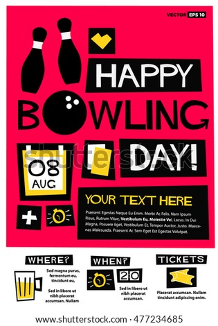Happy Bowling Day 8th Aug Flat Stock Photo Photo Vector