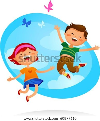 Happy boy and girl jumping - stock vector