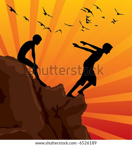happy boy jumping - stock vector