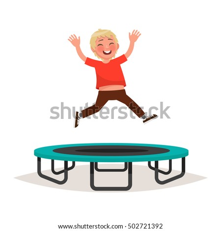 Happy boy jumping on a trampoline. Vector illustration