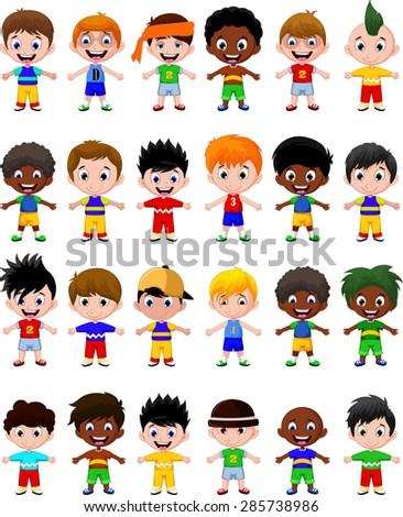 happy boy kids cartoon collection - stock vector