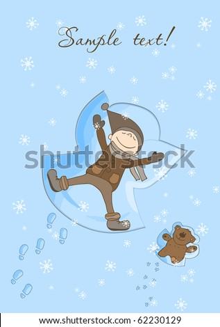 Happy Boy Making a Snow Angel Xmas Card - stock vector