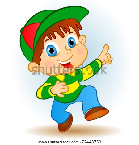 happy boy pointing.young - stock vector