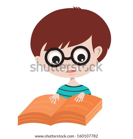 Happy Boy Reading A Book Vector Illustration EPS10 - stock vector