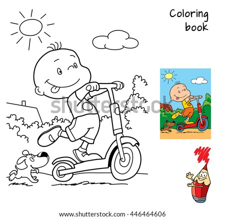 Happy boy riding a scooter. Coloring book. Vector illustration