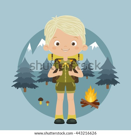 Happy boy scout with backpack in forest. Mountains, trees and camp fire on the background.  Scouting concept. Vector cartoon illustration. - stock vector
