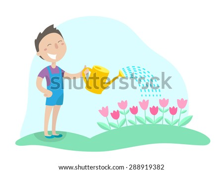 Happy boy watering flowers from a watering can in his garden. Flat design. Vector illustration. - stock vector