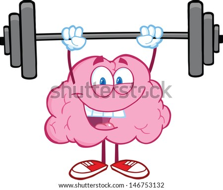Happy Brain Character Lifting Weights - stock vector