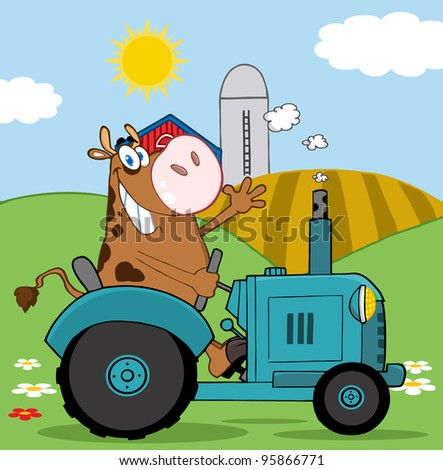Happy Brown Cow Farmer In Red Tractor Waving A Greeting On His Farm.Vector Illustration - stock vector