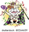 Happy bulldog celebrating at a colorful festival - stock vector