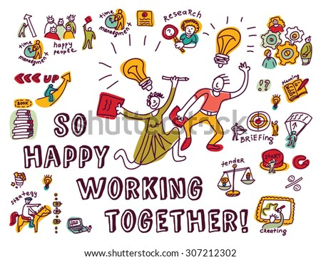 Happy business creative couple work ink. Doodles creative couple with business objects and icons isolate on white. Ink hand drawn color vector illustration. EPS8. - stock vector