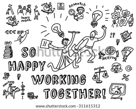 Happy business creative couple work monochrome. Doodles creative couple with business objects and icons isolate on white. Black and white hand drawn vector  illustration. EPS8. - stock vector