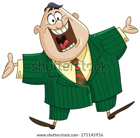 Happy business man showing welcome gesture - stock vector