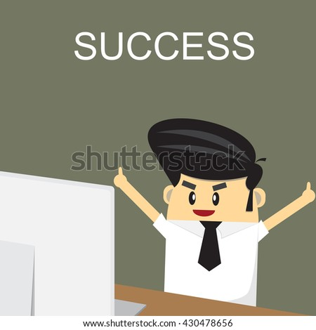 Happy business man sitting over work at desk - stock vector