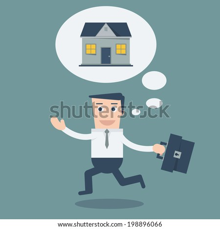 Happy Business man walking  with house in think bubble gonna go home  - stock vector