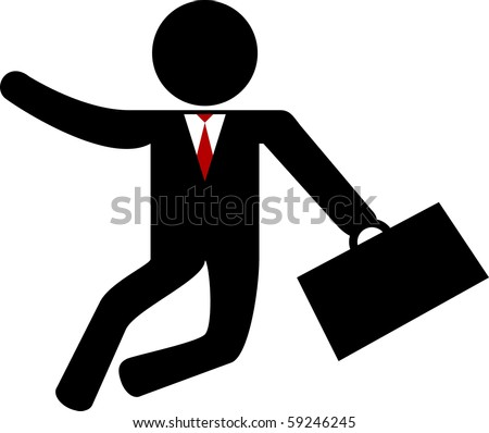 happy business man with suitcase - stock vector