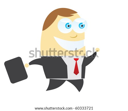Happy Business man with suitcase Cartoon - stock vector