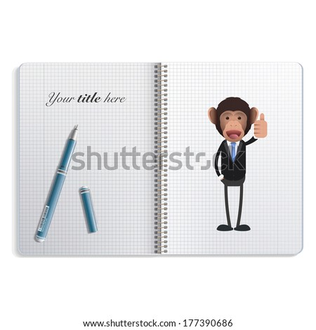 Happy business monkey with his thumb up printed on notebook - stock vector