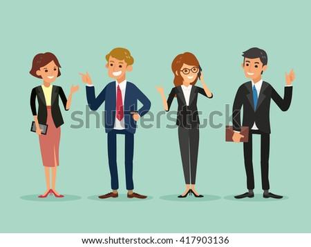 happy business people standing vector cartoon illustration - stock vector