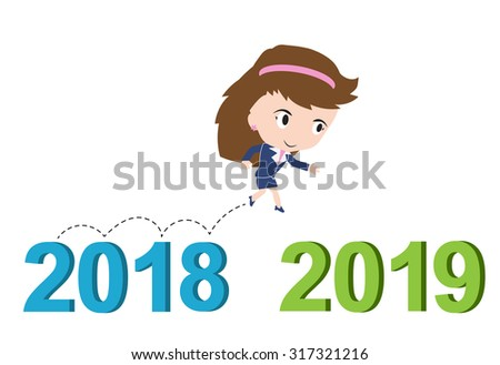 Happy business woman running from 2018 to 2019, new year success concept, vector