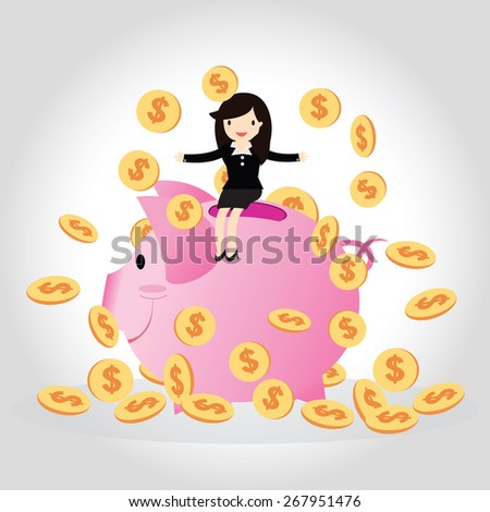 Happy business woman with golden coins on big piggy bank. - stock vector