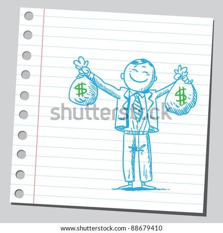 Happy businessman holding money bags - stock vector