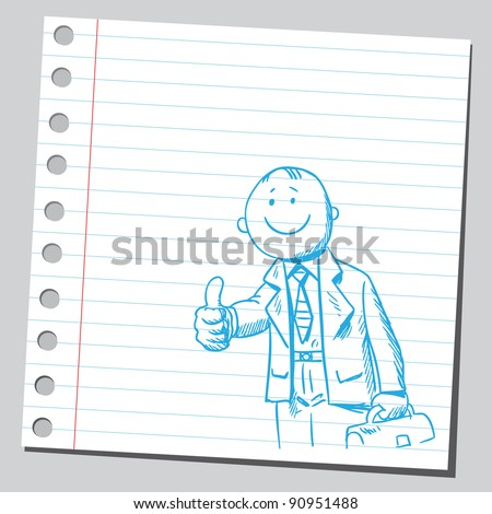Happy businessman holding thumb up