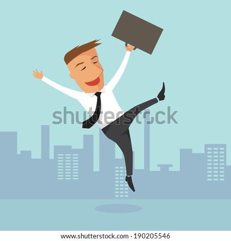 Happy businessman, illustration vector design. - stock vector