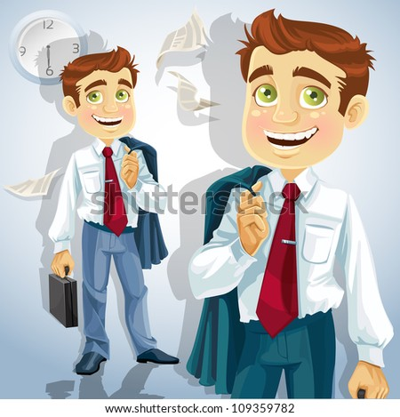 Happy businessman is going home after a long intense day - stock vector