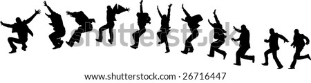 happy businessman run and jump - stock vector