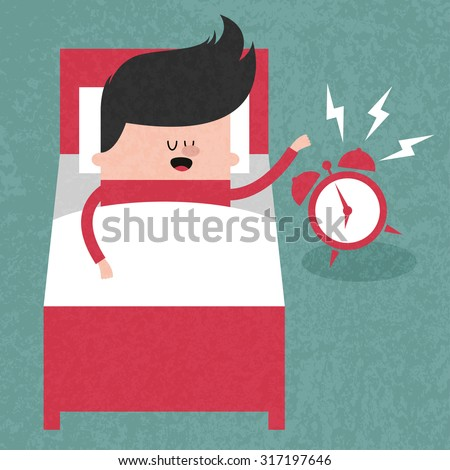 Happy businessman sleeping in bed when the alarm clock rang, wake up early, morning. Concept  illustration. Vector flat design. Trendy graphic cartoon style. Cute funny card - stock vector