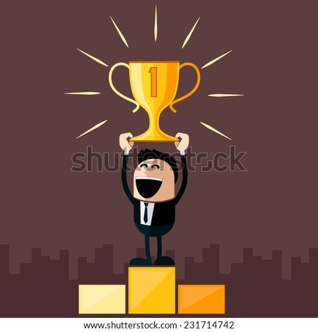 Happy businessman stands on pedestal holds cup overhead cartoon flat design style - stock vector