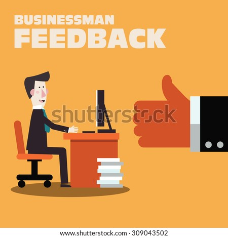 Happy businessman working in office at computer. Businessman feedback. Likes and positive feedback concept. Satisfied boss with thumb up. Stylish illustration in modern colors. Vector flat design - stock vector