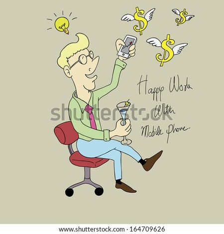 Happy businessman working with Mobile phone.