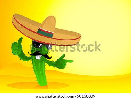 happy cactus in desert - stock vector