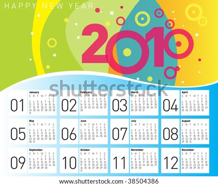 Happy Calendar 2010. Editable Vector. - stock vector