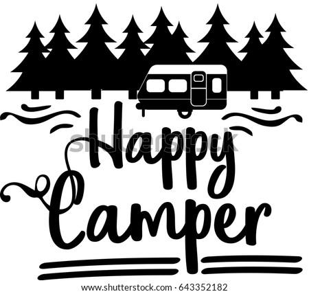 Happy Camper Vector Download Happycamper Stock Vector 643352182