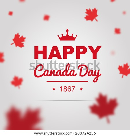 Happy Canada Day poster. 1st of July vector with 3D effect. - stock vector