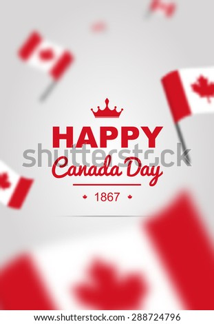 Happy Canada Day poster with flag. Bright vector for 1st of July. - stock vector