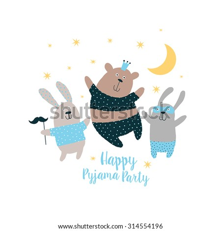 Happy Card, Pajama, party. Sweet animals background. - stock vector