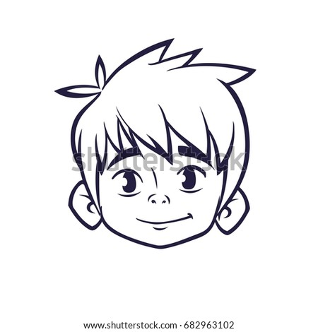 Happy Cartoon Boy Head Outlines Vector Illustration For Coloring Book