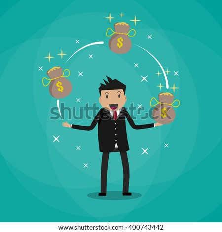 Happy Cartoon businessman juggling with money bags full of gold coins. vector illustration in flat design on green background - stock vector